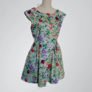 Quirky Circus Vintage Style Floral Print Dress - Size 12